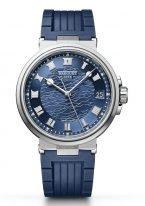 Мужские спортивные часы Breguet Marine-5517BB_Y2_5ZU в корпусе из белого золота с гильошированным синим циферблатом, синим каучуком.