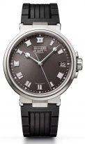 Мужские спортивные наручные часы Breguet Marine-5517TI/G2/5ZU в титановом корпусе с серым гильошированным циферблатом и каучуковым браслетом.