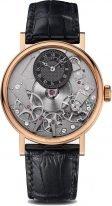 Мужские классические часы Breguet Tradition 7027BR_G9_9V6 в розовом золоте с запасом хода, с серым циферблатом, на черном ремешке кроко.