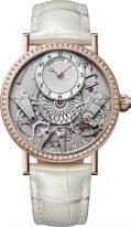 Женские классические часы Breguet Tradition 7038BR_18_9V6_D00D в розовом золоте с бриллиантовым рантом, смещенный перламутровый гильошированный циферблат, белая кожа кроко.