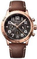 Мужские спортивные часы Breguet Type 3817BR_Z2_3ZU сплит хронограф с индикацией времени суток в розовом золоте, грифельный циферблат, кожаный ремешок.