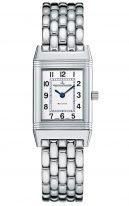 Женские прямоугольные классические часы Jaeger Le Coultre Reverso-2618110 в стальном корпусе, серебристый циферблат, стальной браслет.