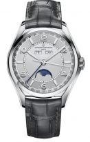 Мужские классические часы Vacheron Constantin Fiftysix 4000E_000A_B439 в стальном корпусе, годовой календарь с фазами луны, светлый циферблат, серый ремешок кроко.