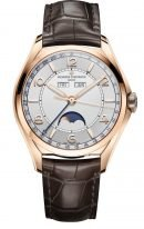 Мужские классические часы Vacheron Constantin Fiftysix 4000E_000R_B438 в розовом золоте, годовой календарь и фазы Луны, светлый циферблат, коричневая кожа кроко.