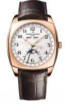 Мужские классические часы в форме подушки Vacheron Constantin Harmony-4000S_000R_B123 в розовом золоте, годовой календарь с фазами Луны, светлый циферблат, коричневая кожа кроко.