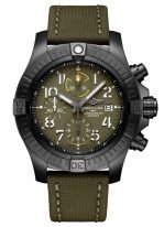 Мужские спортивные часы Breitling Avenger V13317101L1X1 хронограф в титановом корпусе с покрытием DLC, циферблат цвета хаки, текстильный ремешок в цвете хаки