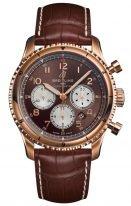 Мужские наручные часы Breitling Aviator 8_RB0119131Q1P1 хронограф в розовом золоте, на коричневом циферблате белые счетчики, золотые арабские цифры, коричневая кожа