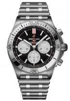 Мужские спортивные часы Breitling Chronomat AB0134101B1A1 хронограф в стальном корпусе, с черным циферблатом и белыми счетчиками, на стальном браслете Rouleau