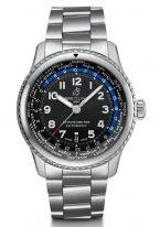 Спортивные часы Breitling Navitimer-AB3521U41B1A1 с функцией мирового времени и датой в стальном корпусе, темный циферблат и стальной браслет.