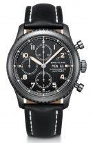 Спортивные часы Breitling Navitimer-M13314101B1X1 хронограф с календарем в черненном стальном корпусе, с черным циферблатом и черным телячьим ремешком