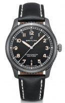 Спортивные часы Breitling Navitimer-M17314101B1X1 в корпусе из черненной стали, на черном циферблате люминесцентные стрелки и цифры, черный телячий ремешок