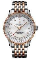 Женские наручные часы Breitling Navitimer U17395211A1U1 в биколорном корпусе с перламутровым циферблатом и бриллиантовыми индексами, биколорный браслет.