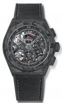 Мужские спортивные часы Zenith Defy 10 9000 9004 96 R921 хронограф в карбоновом корпусе, черный скелетированный циферблат, черный парусиновый ремешок