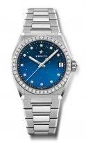 Женские наручные часы Zenith Defy 16 9200 670 01 MI001 в стальном корпусе с бриллиантовым безелем, синий циферблат с бриллиантовыми индексами, стальной браслет.