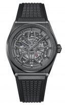Мужские спортивные часы Zenith Defy-49_9000_670_77_R782 в корпусе из черной керамики, скелетированный циферблат, черный каучук.