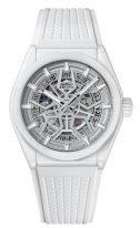 Мужские/женские спортивные часы Zenith Defy-49_9002_670_01_R792 корпус из белой керамики, светлый скелетированный циферблат, белый каучук.