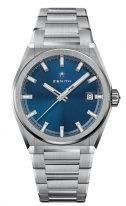 Мужские спортивные часы Zenith Defy-95_9000_670_51_M9000 в титановом корпусе, синий гильошированный циферблат с люминесцентными стрелками и метками, титановый браслет