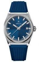 Мужские спортивные часы Zenith Defy-95_9000_670_51_R790 в титановом корпусе, синий гильошированный циферблат, синий каучуковый ремешок с 3D-эффектом.