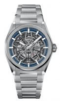 Мужские спортивные часы Zenith Defy-95_9000_670_78_M9000 в титановом корпусе, серебристый скелетированный циферблат с люминесцентными стрелками и метками, браслет титановый.
