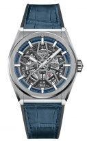 Мужские часы Zenith Defy-95_9000_670_78_R584 в титановом корпусе, светлый скелетированный циферблат, синяя кожа кроко