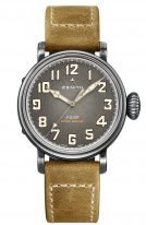 Мужские спортивные часы Zenith Pilot 11 1940 679 91 C807 в корпусе из состаренной стали, циферблат темно-серый с зернением, коричневый нубуковый ремешок.
