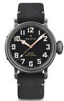 Мужские спортивные часы Zenith Pilot 11 2432 679 21 C900 в состаренном стальном корпусе, черный матовый циферблат, черный нубуковый ремешок..