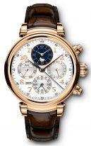 Мужские классические часы IWC Da Vinci IW392101 вечный календарь с хронографом и фазами Луны, на посеребренном циферблате счетчики хронографа, золотые крупные арабские цифры и стрелки, коричневая кроко.