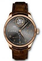 Мужские часы IWC Portugieser IW504602 с парящим турбийоном и ретроградной датой и запасом хода в розовом золоте, на грифельно-сером циферблате золотые арабские цифры и стрелки, коричневый ремешок кроко.