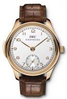 Мужские наручные часы IWC Portugieser-IW544907 с минутным репетиром в розовом золоте, на посеребренном циферблате с лучистым сатинированием, золотые арабские цифры и стрелки, коричневый ремешок кроко.