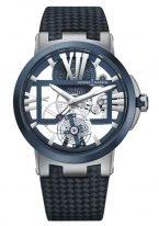 Мужские наручные часы Ulysse Nardin Executive-1713-139/43 с турбийоном в титановом корпусе с керамическим рантом, на скелетированном циферблате большие римские цифры, широкие люминесцентные стрелки, кожаный ремешок.