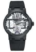Мужские наручные часы Ulysse Nardin Executive-1713-139/MAGIC-BLACK с турбийоном в титановом корпусе с керамическим рантом, на скелетированном циферблате большие римские цифры с багетными бриллиантами, широкие черные стрелки, черная кроко.