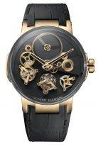 Мужские наручные часы Ulysse Nardin Executive-1766-176 турбийон с индикатором запаса хода в розовом золоте, на черном циферблате свободно-плавающие элементы механизма, золотые скелетонизированные стрелки, черная кожа кроко.