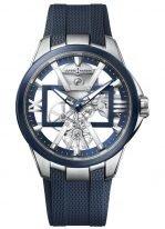 Мужские наручные часы Ulysse Nardin Executive-3713-260-3/03 в титановом корпусе, на скелетированном циферблате часовые индексы и римские цифры, широкие люминесцентные стрелки, синий каучук.