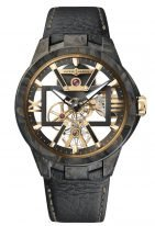 Мужские наручные часы Ulysse Nardin Executive-3715-260/CARB в карбоновом корпусе, на скелетированном циферблате часовые индексы и римские цифры, широкие люминесцентные стрелки, телячий черный ремешок.