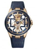 Мужские наручные часы Ulysse Nardin Executive-3716-260/03 в розовом золоте с титановым безелем, на скелетированном циферблате часовые индексы и римские цифры, широкие люминесцентные стрелки, синяя кожа кроко.