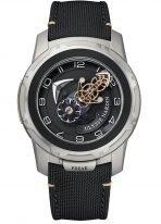 Мужские наручные часы Ulysse Nardin Freak-2053-132/02 с турбийоном в стальном корпусе с титаном, на черном циферблате центральный мост в качестве минутной стрелки, а колеса показывают часы, без заводной головки, текстильный ремешок.