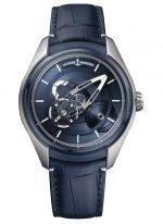 Мужские наручные часы Ulysse Nardin Freak-2303-270/03 авангардный турбийон в титановом корпусе, на синем циферблате центральный мост в качестве минутной стрелки, а колеса показывают часы, синяя кожа кроко.