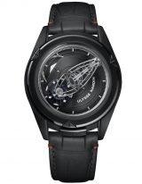 Мужские наручные часы Ulysse Nardin Freak-2503-250/BLACK с турбийоном в черненном титане, на черном циферблате крупные арабские цифры центральный мост в качестве минутной стрелки, а колеса показывают часы, без заводной головки, черный кроко.