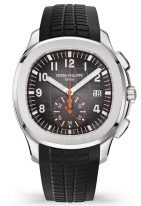 Мужские спортивные часы Patek Philippe Aquanaut 5968A-001 в стальном корпусе с рельефным черным циферблатом и черным и оранжевым ремешком.