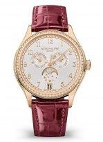Женские классические часы Patek Philippe Complications 4947R-001 в розовом золоте с бриллиантами, годовой календарь и фазы Луны, серебристый циферблат, красная кроко.