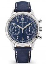 Мужские часы Patek Philippe Complications 5172G-001 в белом золоте с хронографом, синий циферблат, темно-синий телячий ремешок.