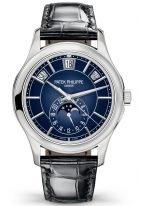 Мужские классические часы Patek Philippe Complications 5205G-013 в белом золоте с годовым календарем и фазами Луны, синий циферблат, кожа кроко.