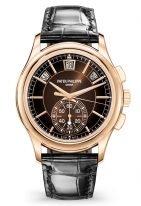 Мужские часы Patek Philippe Complications 5905R-001 в розовом золоте с хронографом и годовым календарем, коричневый циферблат, черный ремешок кроко.