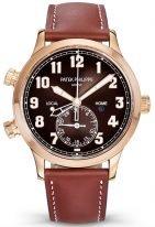 Мужские часы Patek Philippe Complications 5524R-001 в белом золоте с функцией второго часового пояса, синий циферблат, винтажный ремешок.