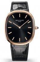 Мужские классические часы Patek Philippe Golden Ellipse 5738R-001 в розовом золоте, черный циферблат, черная кожа кроко.