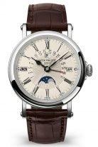 Мужские классические часы Patek Philippe Grand Complications 5159G-001 в белом золоте, вечный календарь с фазами Луны, опаловый циферблат, черная кожа кроко.