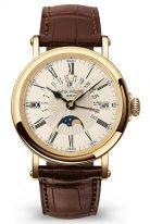 Мужские классические часы Patek Philippe Grand Complications 5159J-001 в желтом золоте, вечный календарь с фазами Луны, опаловый циферблат, коричневая кожа кроко.