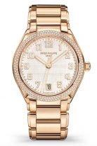 Женские часы Patek Philippe Twenty4 7300-1200R-010 в розовом золоте с бриллиантами, серебристый циферблат, браслет из розового золота.