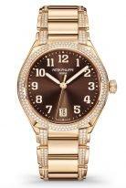 Женские часы Patek Philippe Twenty4 7300-1201R-010 в розовом золоте с бриллиантами, коричневый циферблат, браслет из розового золота с бриллиантами.