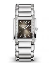 Женские часы Patek Philippe Twenty4 4910-1200a-010 в стальном корпусе, бриллианты, серый циферблат, стальной браслет.